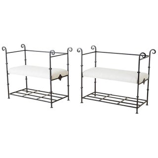 Vintage Mid Century Neoclassical Style Iron and Linen Benches- a Pair For Sale