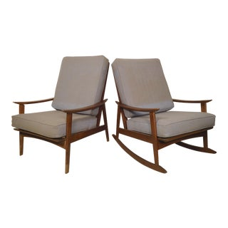 Mid-Century Modern Rocking Chair & Armchair - A Pair For Sale