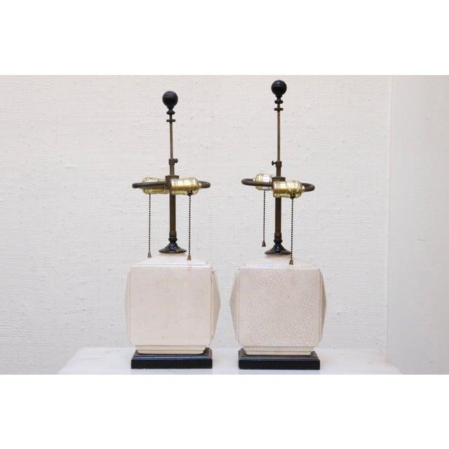 White Petite Antique Craquelure Lamps, a Pair For Sale - Image 8 of 8