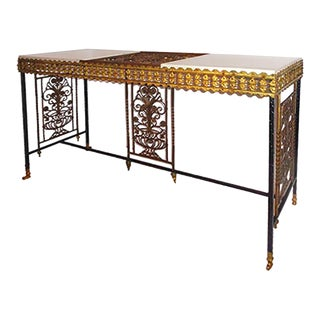 1920's Oscar Bach Style Iron and Bronze Console Table For Sale