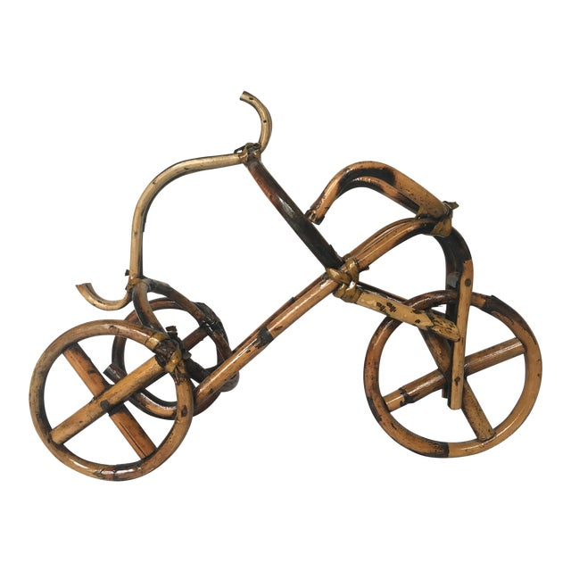 French Rattan Bicycle Wine Caddy - Image 1 of 4