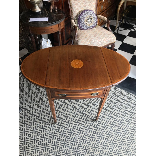 19th Century Traditional Mahogany Drop Leaf Oval Side Table For Sale - Image 10 of 11