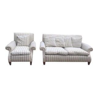 1920s Vintage Deep and Downy English Sofa and Chair For Sale