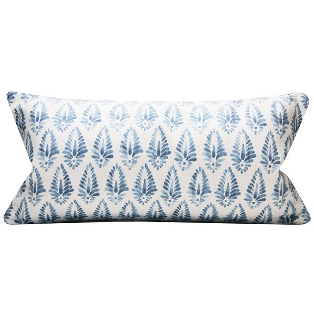 Jalisa Copen Indian Print Pindler Blue and White Pillow Cover For Sale In Portland, OR - Image 6 of 6