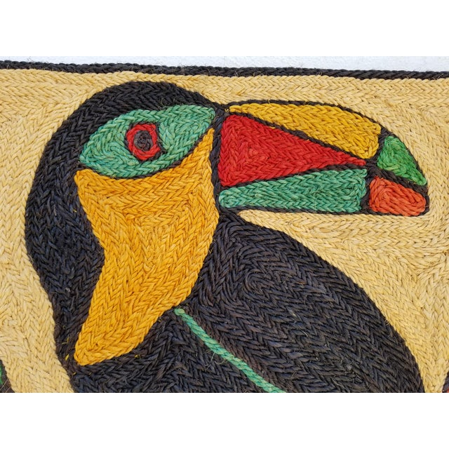 1970s Mid-Century Modern Hand-Woven Sign of Alexander Calder Era Toucan With Fruit Tapestry For Sale - Image 4 of 9