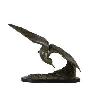 Patinated Art Nouveau Styled Bronze Sculpture of a Tern In-Flight by Irénée Rochard, French, Circa 1940. For Sale