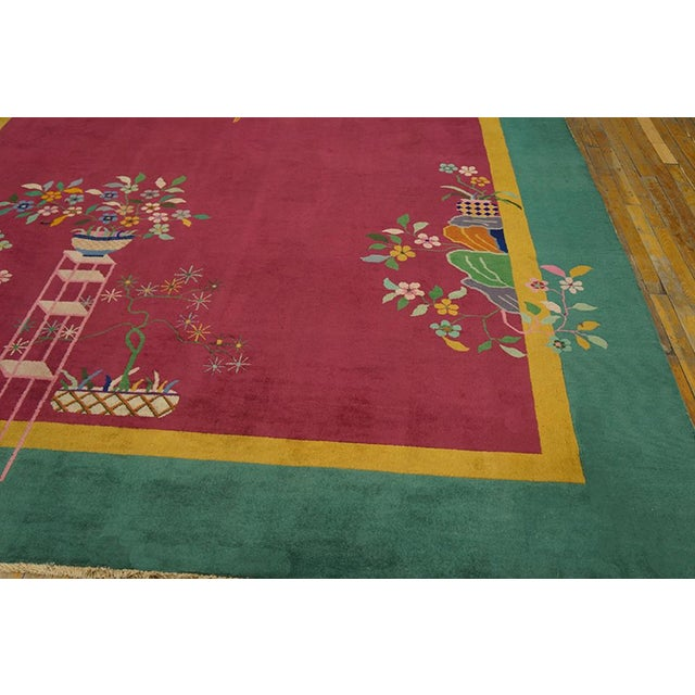 """Textile Chinese Art Deco Pink Rug - 8'9""""x11'4"""" For Sale - Image 7 of 8"""