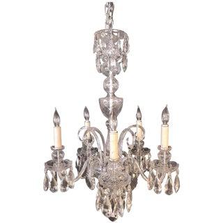 Fine Cut Crystal Georgian Chandelier with Large Pendants For Sale