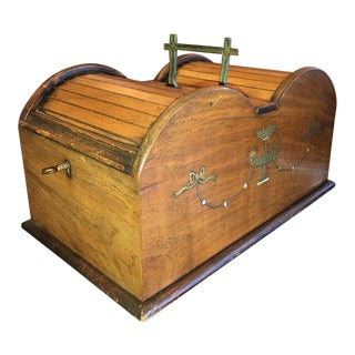 Antique English Regency Cigar/Cigarette Humidor Box With Double Roll Top For Sale