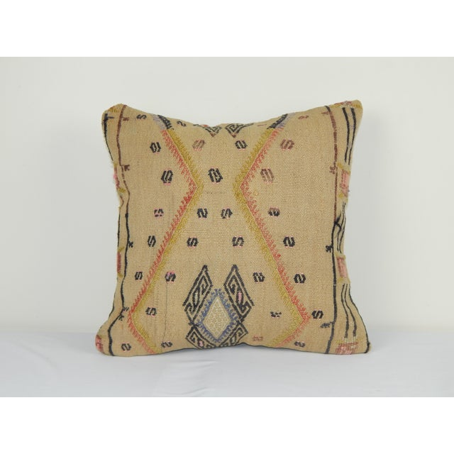 """Striped Turkish Kilim Pillow 16"""" X 16'' For Sale In Dallas - Image 6 of 6"""