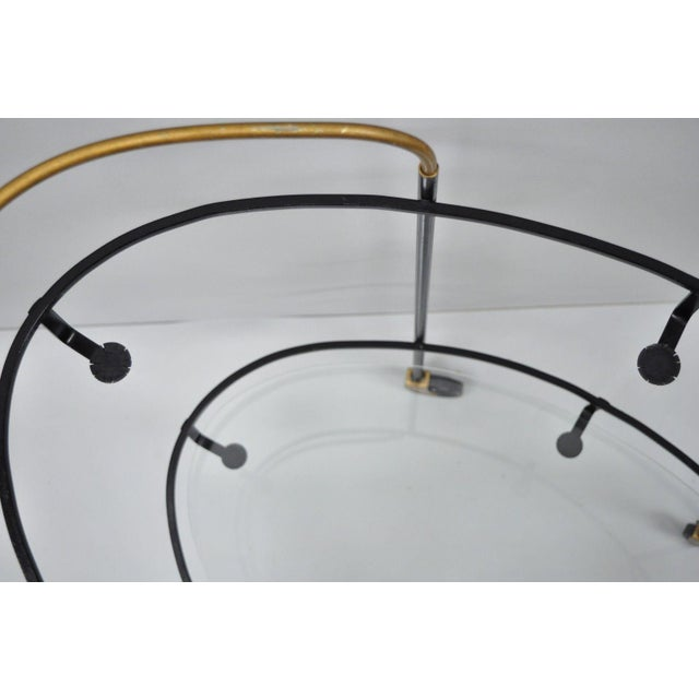 Vintage Metal Iron & Glass Atomic Era Oval Rolling Bar Cart For Sale - Image 4 of 13