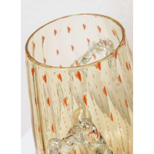 Stunning Murano vase in amber and dark orange flecked glass and ruffled details.