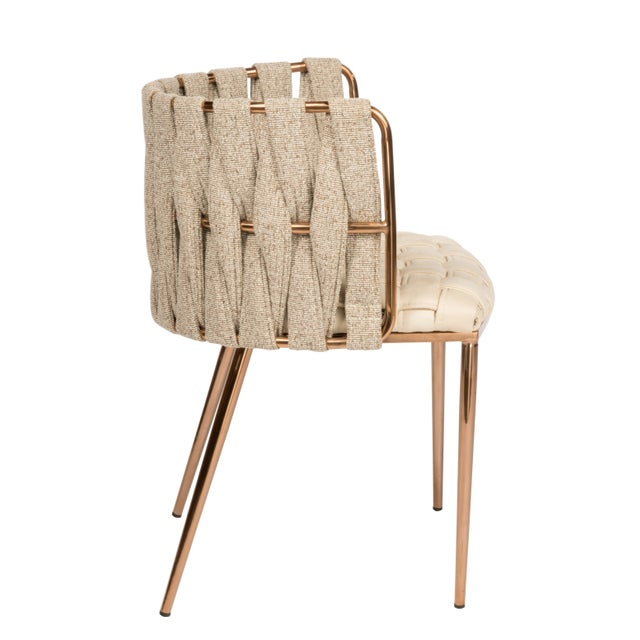 Art Deco Modern Milano Off White and Gold Dining Chair For Sale - Image 3 of 6