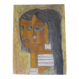 1960s Figurative Pastel Drawing For Sale