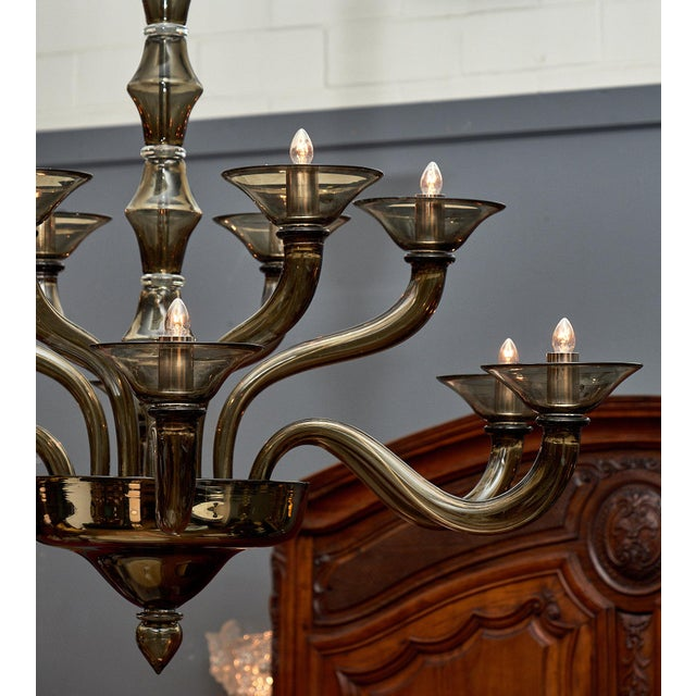 Italian Murano Gray Mercury Glass Chandelier For Sale - Image 3 of 9