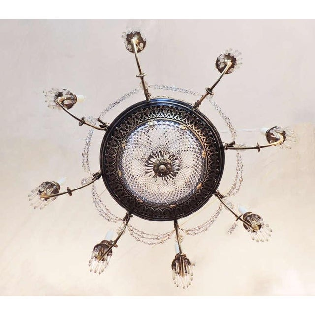 Mid 19th Century Late 19th C French Empire Bronze and Crystal Chandelier For Sale - Image 5 of 10