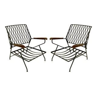 Vintage John S. Salterini Wrought Iron & Wood Armchairs- a Pair For Sale