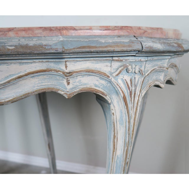 1930s Pair of Painted French Louis XV Style Tables W/ Marble Tops For Sale - Image 5 of 10