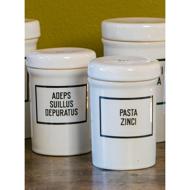 Set of seven ironstone pharmacy jars fabricated in thick ironstone. The intended contents of each jar is stenciled in...