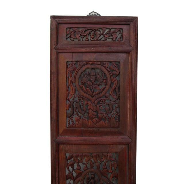Vintage Chinese Flower Wood Panel - Image 3 of 4