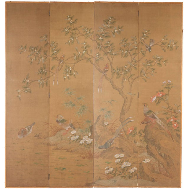 """Chinese Style """"Magpies and Pheasants"""" Hand-Painted Screen by Lawrence & Scott For Sale In Seattle - Image 6 of 6"""
