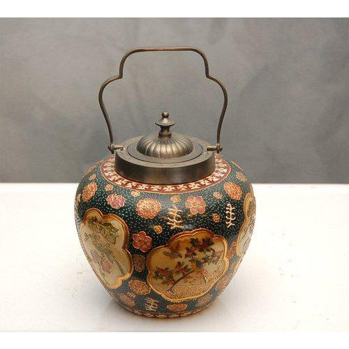 Ceramic Satsuma Biscuit Barrel with Lid For Sale - Image 7 of 10