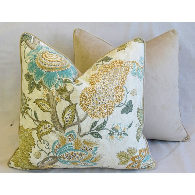 """French Jacobean Floral Feather/Down Pillows 24"""" Square - Pair For Sale - Image 12 of 13"""