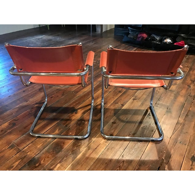 Mart Stam Thonet S34 Tubular Cantilever Chrome and Leather Chairs - a Pair - Image 4 of 5