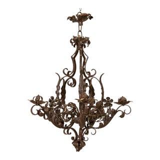 Antique 6-Light Wrought Iron Chandelier, Denmark For Sale