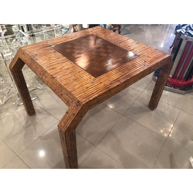 Vintage Hollywood Regency Palm Beach Flat Reed Bamboo Rattan Game Dining Table For Sale - Image 13 of 13