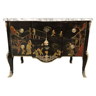 1960s Maison Jansen Lacquered Marble-Topped Chinoiserie Chest