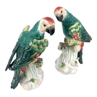 Large Ceramic Colored Parrots Figurines - A Pair For Sale