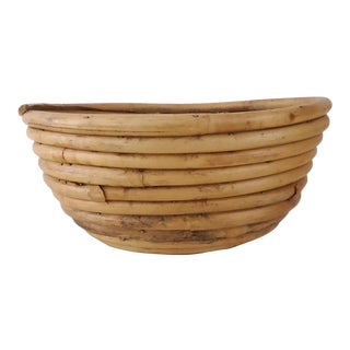 1960s Coiled Bamboo Bowl For Sale