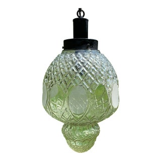 1950s Mid-Century Modern Hand-Cut Drepession Glass Swag Light For Sale