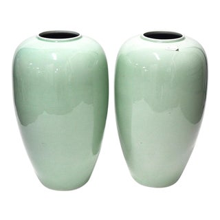 Pair of Tall Vintage Green Vases For Sale