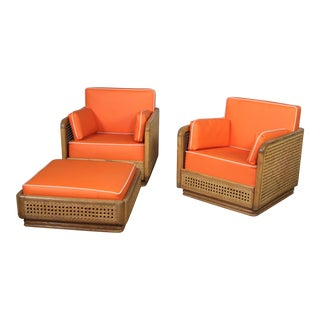 Mid Century Modern Lounge Chairs & Ottoman- 3 Pieces For Sale