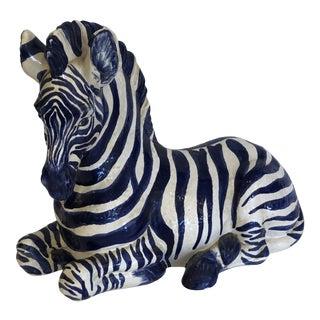 Rare Navy Blue and White Italian Ceramic Zebra Sculpture For Sale
