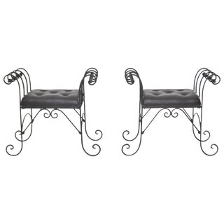 Pair of Midcentury Wrought Iron Tufted Leather Benches For Sale