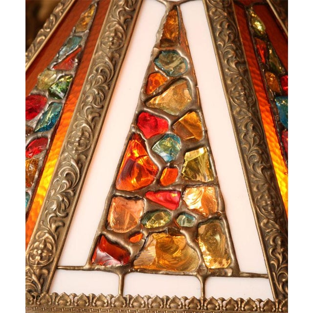 Regency Style Chandelier with Brutal Stained Glass - Image 3 of 6