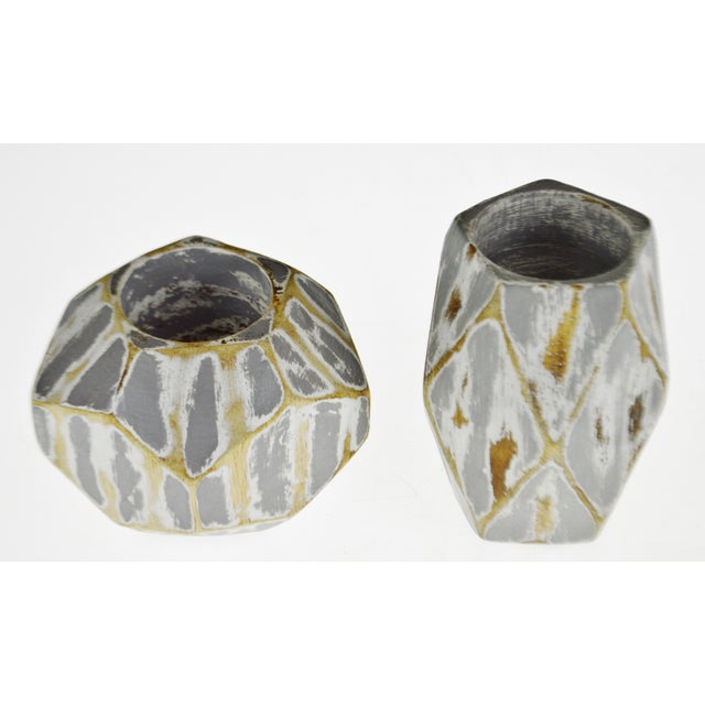 Abstract Vintage Geometric Faceted Votive Candle Holders - a Pair For Sale - Image 3 of 9