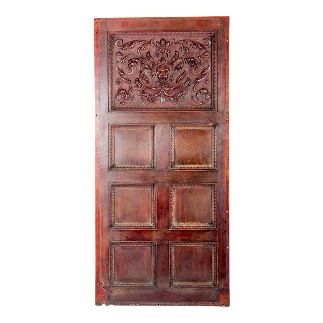 C. 1880 Vanderbilt Mansion Original Hand-Carved Oak Lion Wall Panel For Sale