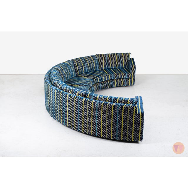 Textile Milo Baughman Curved Sectional Sofa For Sale - Image 7 of 12