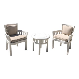 Weatherend White Wood Occasional Table and Chairs Set