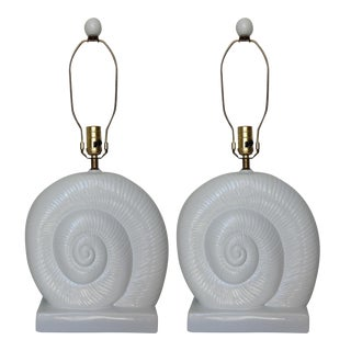 Vintage Mid-Century White Ceramic Nautilus Shell-Shaped Lamps - a Pair For Sale