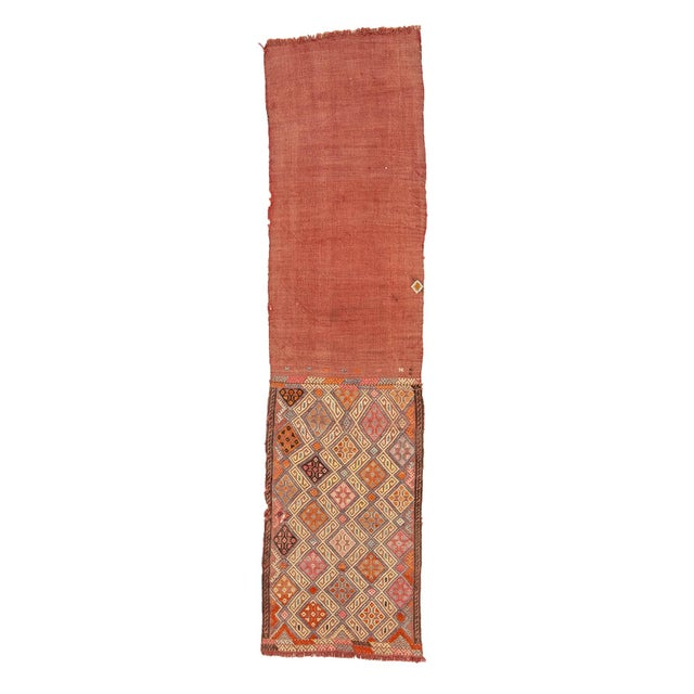 Textile 1960s Vintage Embroidered Decorative Kilim Rug- 1′11″ × 7′6″ For Sale - Image 7 of 7