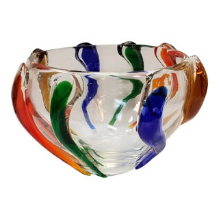 Circa 1960 Czech Frantisek Zemek for Mstisov Glassworks Rhapsody Collection Bowl For Sale