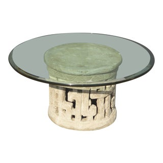 Vintage Plaster Contemporary Coffee Table Base with Beveled Edge Glass Top For Sale