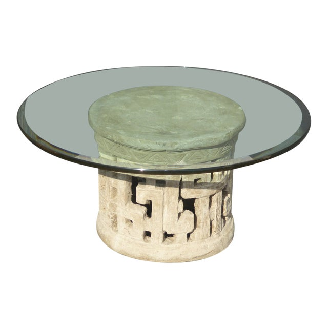 Contemporary Coffee Table.Vintage Plaster Contemporary Coffee Table Base With Beveled Edge Glass Top