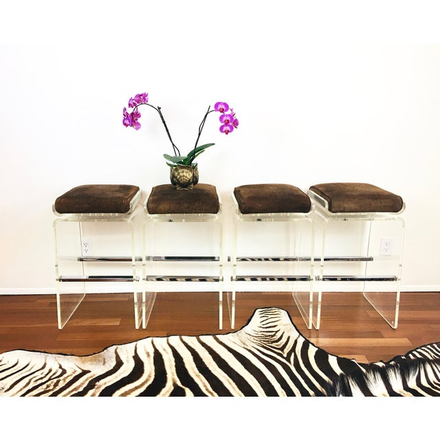 1970s Charles Hollis Jones Attributed Waterfall Lucite Swivel Bar Stools / Chairs, Set of 4 For Sale - Image 10 of 12