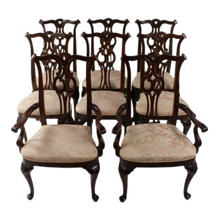 1970s Vintage Traditional Mahogany Dining Chairs- Set of 8 For Sale